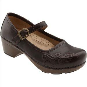 Dansko Mary Jane Savanna Brown Leather Clogs 38